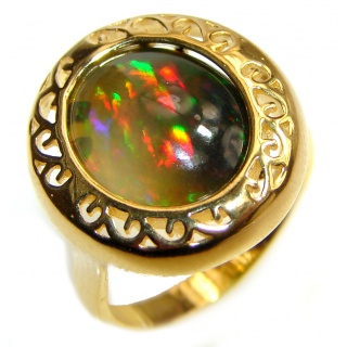 Vintage Design 8.5ctw Genuine Black Opal 18K Gold over .925 Sterling Silver handmade Ring size 7 3/4