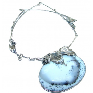 Vintage Design Oversized genuine Dendritic Agate .925 Sterling Silver handcrafted necklace
