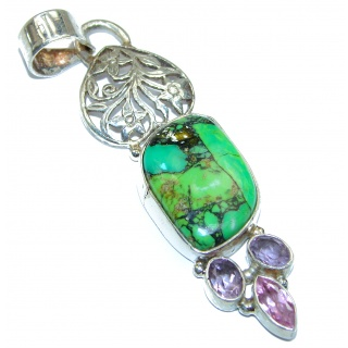 Genuine Green Turquiose Sterling Silver handmade Pendant