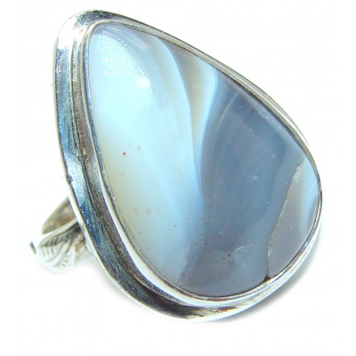 Huge Exotic Botswana Agate Sterling Silver Ring s. 9
