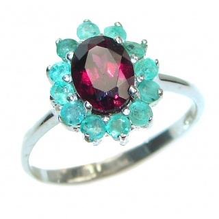 Genuine 2.2ctw Ruby Emerald .925 Sterling Silver handcrafted Statement Ring size 9