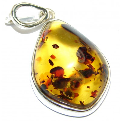 Natural Honey Amber .925 Sterling Silver handmade Pendant