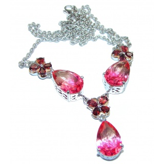 Pear cut Pink Tourmaline 18K Gold over .925 Sterling Silver handcrafted necklace
