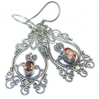 Vintage Beauty Spectacular quality Authentic Citrine .925 Sterling Silver handmade earrings
