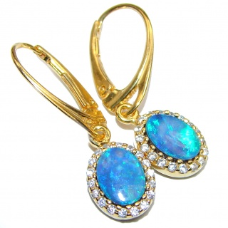 Classy Design Australian Doublet Opal 18K Gold over .925 Sterling Silver handmade earrings