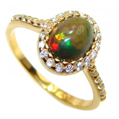 Vintage Design 2.5ctw Genuine Black Opal .925 Sterling Silver handmade Ring size 7 1/4
