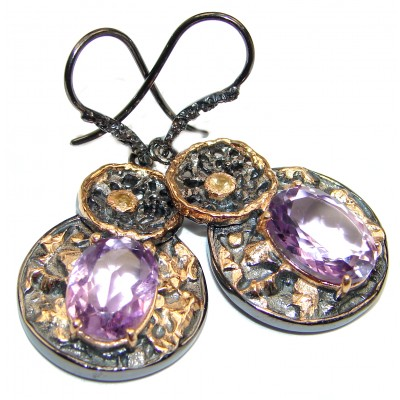 Purple Amethyst 2 tones .925 Sterling Silver handmade Earrings