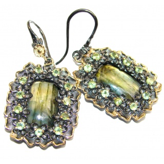 Boho Style Natural Blue Labradorite 2 tones .925 Sterling Silver handcrafted earrings