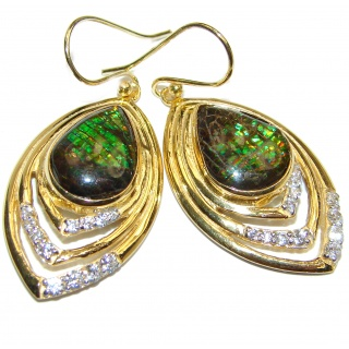 Sublime Aura Canadian Fire Ammolite 18K Gold over .925 Sterling Silver handmade earrings