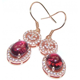 Authentic Kashmir Ruby Rose Gold over .925 Sterling Silver handmade earrings