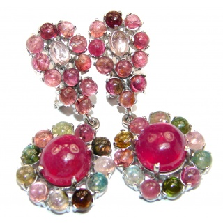 Stunning Huge Authentic Ruby watermelon Tourmaline .925 Sterling Silver handmade earrings