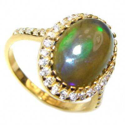 Vintage Design 7ctw Genuine Black Opal 18K Gold over .925 Sterling Silver handmade Ring size 8