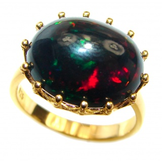 Vintage Design 12ctw Genuine Black Opal 18K Gold over .925 Sterling Silver handmade Ring size 8 1/4