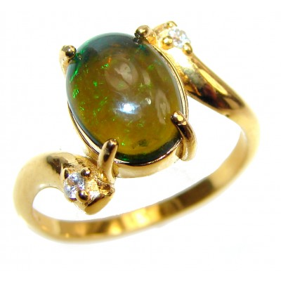 Vintage Design 2.4ctw Genuine Black Opal .925 Sterling Silver handmade Ring size 6