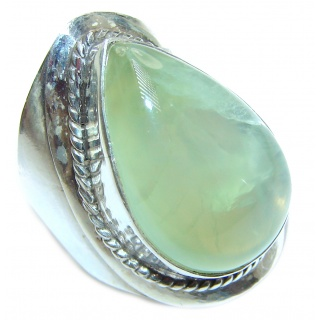 Natural Prehnite .925 Sterling Silver handmade ring s. 7 3/4