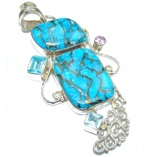 Blue Copper Turquoise .925 Sterling Silver handmade Pendant