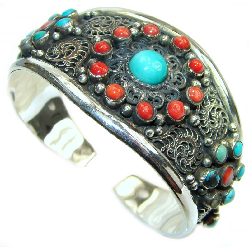 Bohemian Turquoise and Coral Cuff Bracelet
