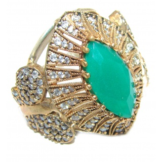Victorian Style created Emerald & White Topaz Copper over Sterling Silver ring; s. 9 1/4