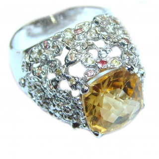 Vintage Style Natural Citrine Sapphire .925 Sterling Silver handcrafted Ring s. 8