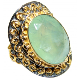 Natural Moss Prehnite 14K Gold over .925 Sterling Silver handmade ring s. 8 adjustable