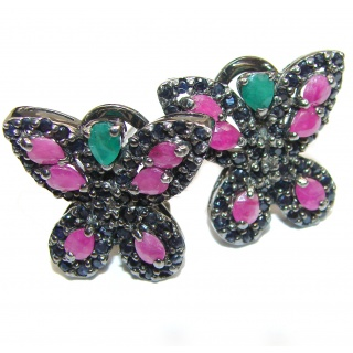 Butterflies Authentic Ruby Emerald .925 Sterling Silver handcrafted earrings