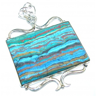 Amazing Blue Rainbow Calsilica .925 Sterling Silver handmade Pendant