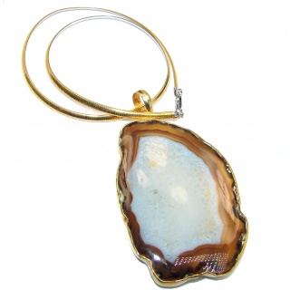 Oversized genuine Agate Gold over .925 Sterling Silver handcrafted necklace