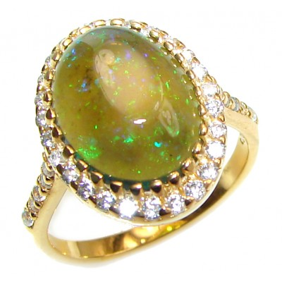 Vintage Design 5.5ctw Genuine Black Opal .925 Sterling Silver handmade Ring size 7 3/4