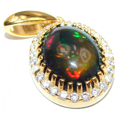Perfection Authentic Black Opal 18K Gold over .925 Sterling Silver handmade Pendant