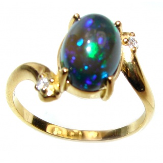 Vintage Design 2.4ctw Genuine Black Opal .925 Sterling Silver handmade Ring size 8