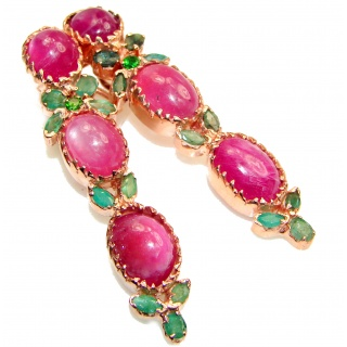 Stunning Huge Authentic Ruby Emerald .925 Sterling Silver handmade earrings