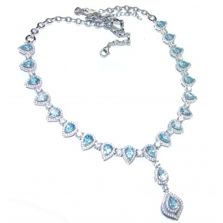 Pear Shaped genuine Swiss Blue Topaz .925 Sterling Silver handmade necklace