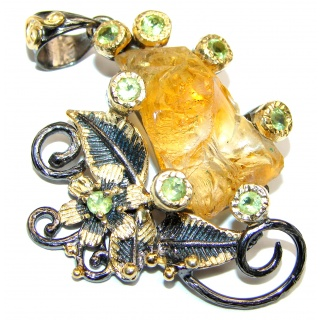 Huge Rough Citrine 18k Gold Rhodium over .925 Sterling Silver handcrafted Pendant
