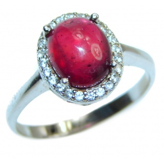 Genuine 2 ctw Star Ruby 2 tones .925 Sterling Silver handcrafted Statement Ring size 8