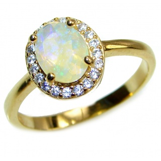 Vintage Design 1.2ctw Genuine Ethiopian Opal .925 Sterling Silver handmade Ring size 8