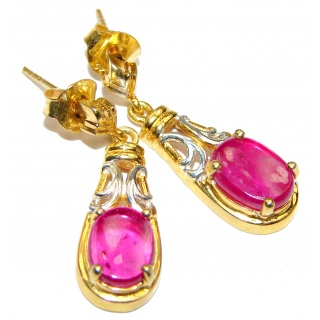 Authentic Kashmir Ruby 14k Gold over .925 Sterling Silver handmade earrings