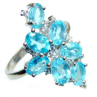 Swiss Blue Topaz .925 Sterling Silver handmade Ring size 8