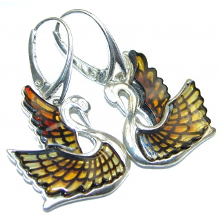 Masterpiece Genuine carved Baltic Amber Swans .925 Sterling Silver Earrings
