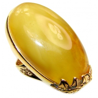 HUGE Genuine Butterscotch Baltic Amber .925 Sterling Silver handmade Ring size 7