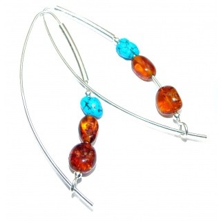Genuine Long Baltic Polish Amber Sleeping Beauty Turquoise .925 Sterling Silver Earrings