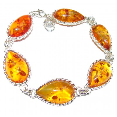Beautiful Baltic Amber .925 Sterling Silver handcrafted Bracelet