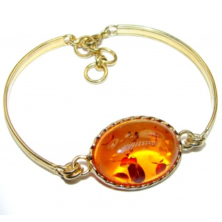 Beautiful authentic Baltic Amber Gold over .925 Sterling Silver handcrafted Bracelet