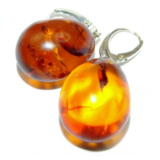 Large Juicy Genuine Baltic Amber .925 Sterling Silver handcrfated Earrings