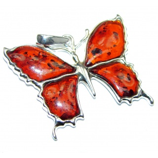 Butterfly Baltic Polish Amber .925 Sterling Silver handcrafted Pendant / Brooch