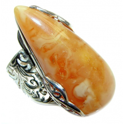 HUGE Genuine Butterscotch Baltic Amber .925 Sterling Silver handmade Ring size 7 adjustable