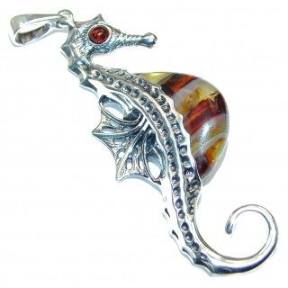 Large Seahorse Natural Baltic Amber .925 Sterling Silver handmade Pendant