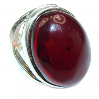Excellent Cherry Amber .925 Sterling Silver handcrafted Ring s. 8 adjustable