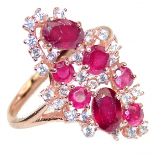 Genuine Kashmir Ruby gold over .925 Sterling Silver handcrafted Statement Ring size 6 1/4