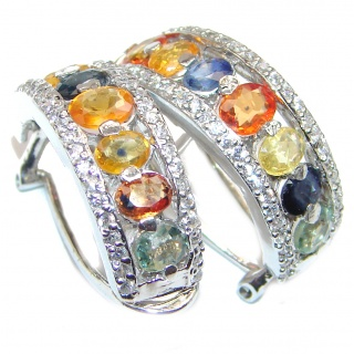 Incredible quality multicolor Sapphire .925 Sterling Silver handcrafted earrings