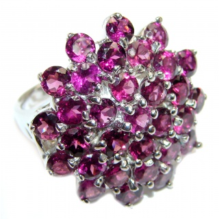 Dazzling natural Red Garnet & .925 Sterling Silver handcrafted ring size 9